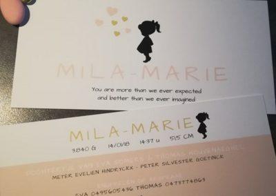 geboortekaartje mila-marie